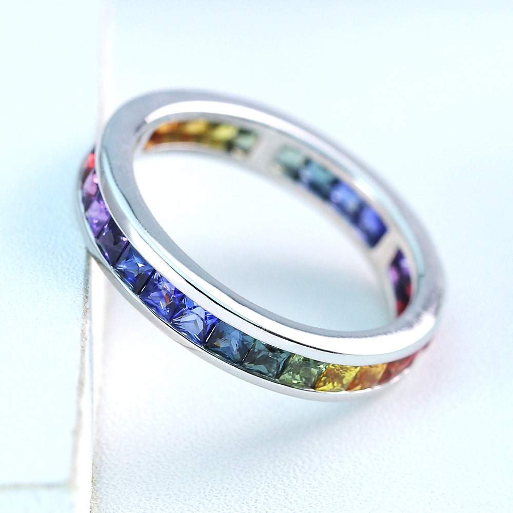 lgbt pride eternity ring wedding band sterling silver by