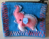 Embroidery elephant coin purse