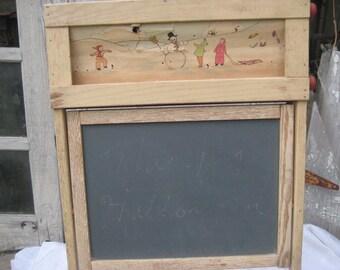 Vintage large chalkboard, standing chalkboard, childs chalkboard