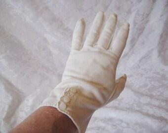 Cream nylon summer gloves, off white garden tea party gloves, wedding gloves, mid length, size 7