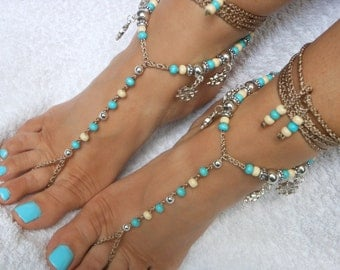 Crochet Barefoot Sandals Beach Wedding  Yoga Shoes Foot Jewelry  Turquoise Cream Silver