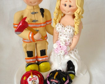 Firefighter  and nurse wedding cake topper- Custom made bride and groom wedding cake topper