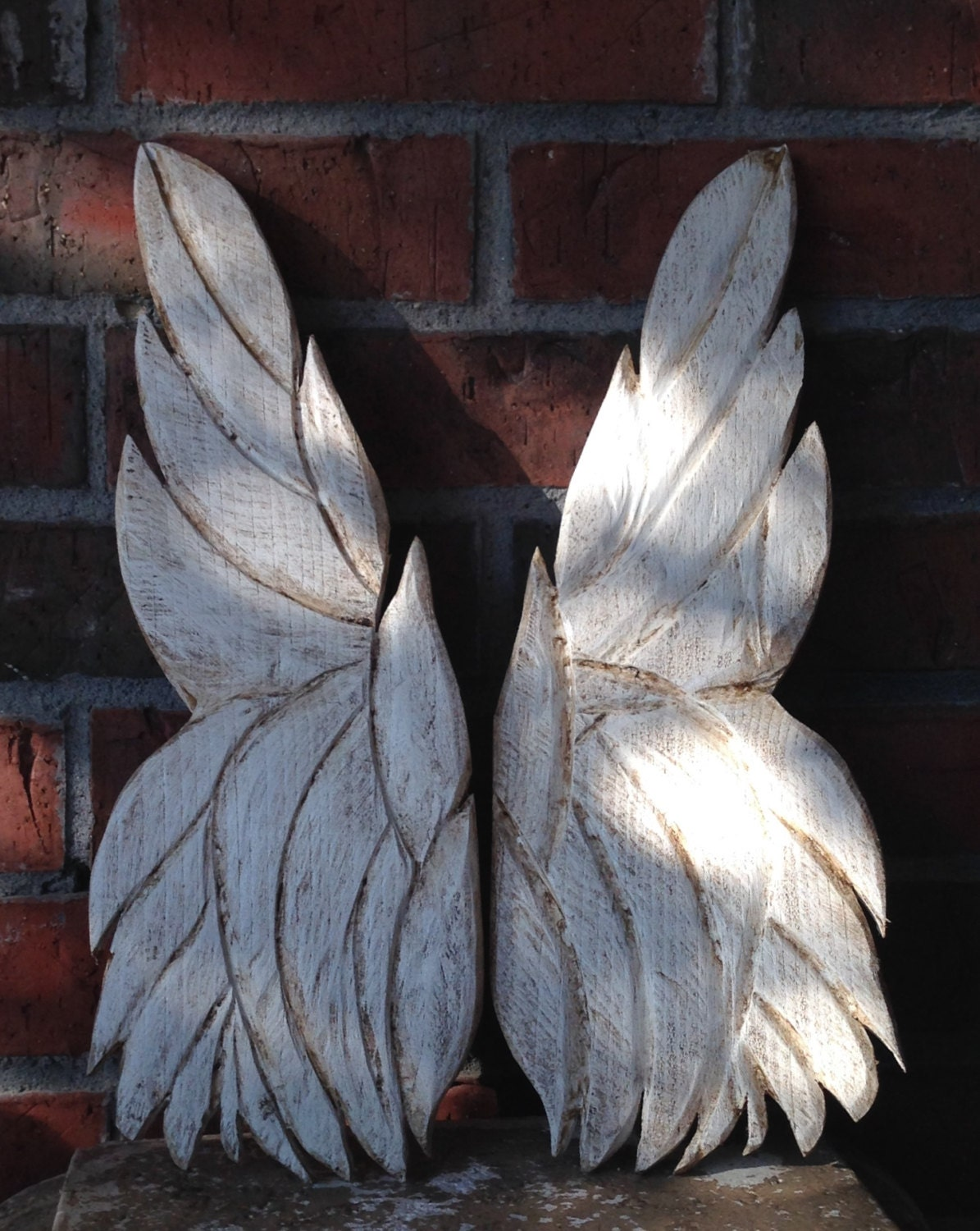 Carved angel wings wall decor : Wooden angel wings wall art carved