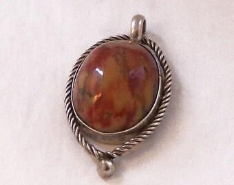 Vintage Semi Precious Silver Pendant, Oval Agate Pendant, Silver Pendant, Agate Pendant