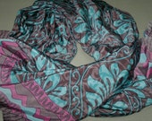 Square Scarf Indian Silk Sari Scarf Turquoise and Brown Paisley SQSF1