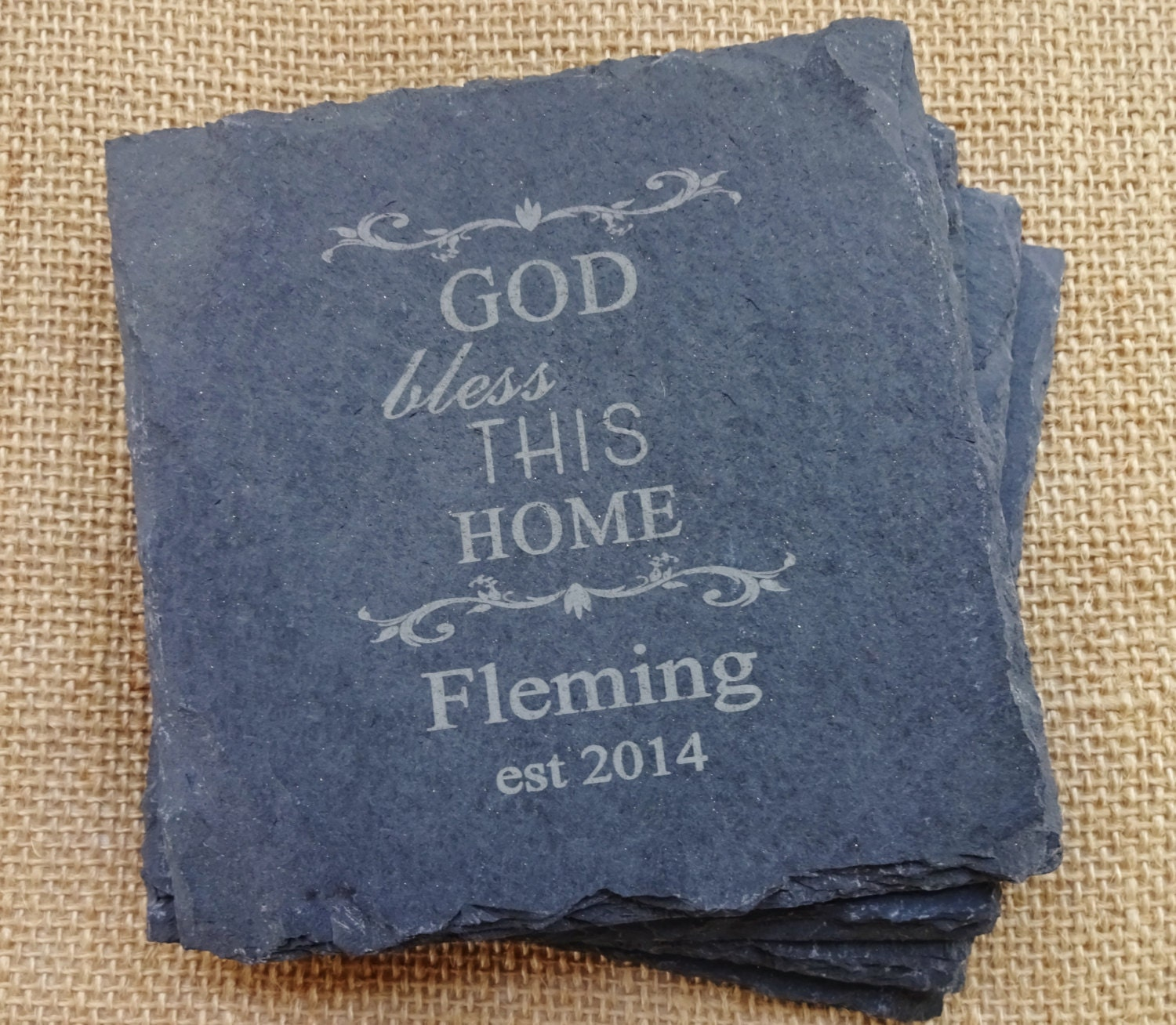 Personalized Coasters Slate Set of 4 Wedding Gifts Under 20