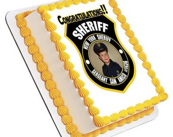 Personalized Edible Icing Image Birthday Fun Police Sheriff Badge Decoration Cake Topper - Add Your Own Photo (0012)