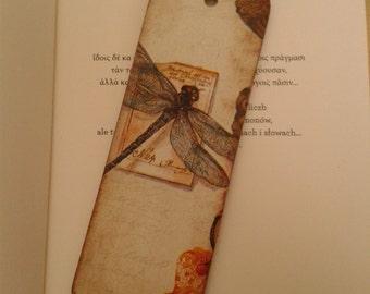 Dragonfly Decoupage Vintage Bookmark