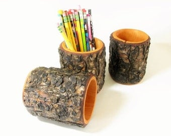 Rustic log pencil holder. Lodge pole pine wood log pen holder. One holder.