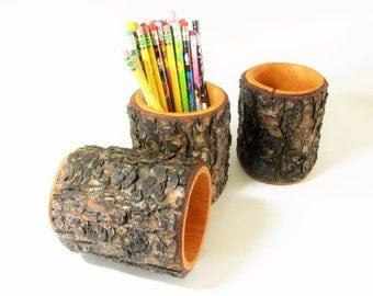 Rustic log pencil holder. Lodge pole pine wood log pen holder.