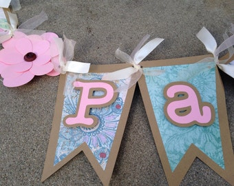 Vintage banner, tea party banner, chaby chic banner, vintage decoration, tea party decoration, flower banner