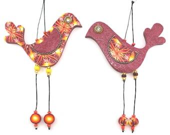 Pair of Love birds, Wall decor love birds, Handmade Polymer clay birds, Bird couple in Orange, yellow, red and bronze