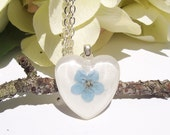 Real Pressed Forget-me-not Flower Small Heart Glass Pendant Necklace