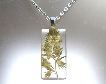 Real Pressed Grass Rectangle Glass Pendant Necklace