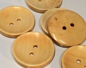 Natural Colour Plain Round Wood Two Hole Buttons for Sewing Knitting Crocheting Crafts Jewelry Scrapbooking Art Clothes Pack of 4 30mm