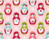 50% off! Matroyshka in Pink for Riley Blake  1/2 Yard Cotton Merry Matroyshka Collection Carly Griffith Nesting Dolls Pink and White Fabric