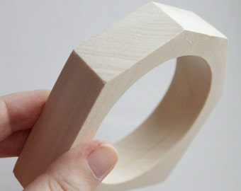 25 mm Wooden bangle unfinished hexahedral - natural eco friendly HX25