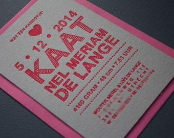 Baby announcement - letterpress