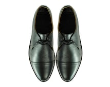 BAUDALAIRE Black Leather Goodyear Welted Shoes. (All Mens and Womens Sizes)