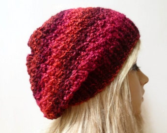 Sale! Women Chunky Slouchy - Hand Knit Hat - Hand Knitted Slouchy Beanie  Red Oversized Beanie Hat - Vegan Knit Hat - Clickclackknits