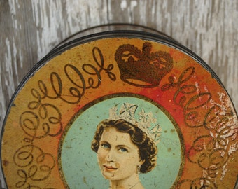 antique candy tin  Queen Elizabeth with in all of her glorious regalia made in england  classic candy tin antique candy box SHABBY CHIC