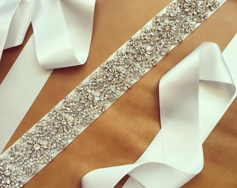 Pearl Rhinestone Wedding Sash - Dress Sash - Prom Sash - CAROLINA