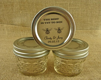 Personalized Mason Jar Wedding Favors-The Best Is Yet To Bee Design-20 4 Oz Jelly Jars or 12 8Oz Square Mason Jars With Custom StickerLabels
