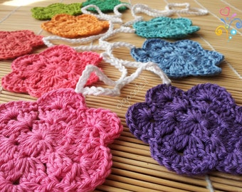 Flower Garland- Crochet Bunting- Wall Hanging- Birthday Party Home Décor- Vibrant Colours