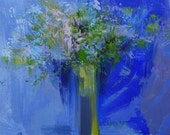 Cobalt blue painting of bouquet of flowers, Oil still life painting on canvas floral painting blue flowers painting wall art canvas
