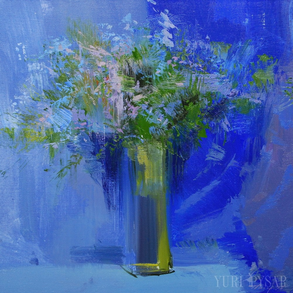 Cobalt blue painting of flowers abstract contemporary art for Blue paintings on canvas