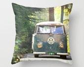 Throw Pillow Case - VW Mini Bus Van Camper Retro Classic Peace Love Nature - Home Decor,  Photography RDelean Designs