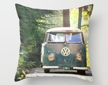 Throw Pillow Case - VW Mini Bus Van Camper Retro Classic Peace Love Nature - Home Decor,  Photography RDelean Designs