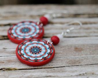 Natural Stone Beaded Earrings, Sterling Silver Jewelry, Decoupage Earrings, Red Bohemian Dangle, Gemstone Jewellery, Decoupage Earrings
