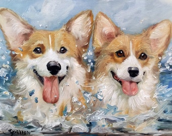 "PRINT Pembroke Welsh Corgi Dog Art beach summer Ocean ""Corgi Splash"" painting / Mary Sparrow unstretched and rolled"