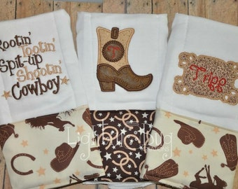 Monogram Cowboy Burp Rag Set