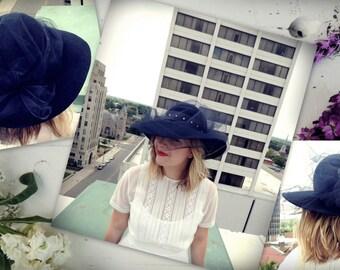 Black Wide Brim Hat/Rhinestone Hat/Netted Hat/1960's Glam Hat/Gothic Hat/Retro Hat/Western Formal Hat/Kentucky Derby Hat/Goth/Classy Sun Hat