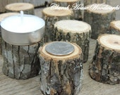 100 tree slice stumps for rustic weddings, country wedding decor, tree branch decorations, little tree stump candle holders, woodland decor