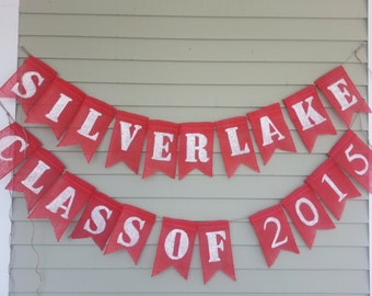 Graduation Banner, your school, your year. personalized burlap .