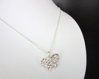 Small Rhinestone Butterfly Pendant Necklace & Silver 925 Chain 18 Inches