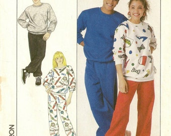 "A Pull-On Pants, & Pullover Sweatshirt Sewing Pattern: Uncut - Unisex Size Extra Small, Bust / Chest 29"" - 31-1/2"" • Simplicity 9242"