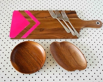 CHRISTMAS SALE! Hand Painted Timber Serving Board, Neon Pink Geometric Arrow, Cheese Plate, Kitchen Gift, Christmas Gift, 21st Present