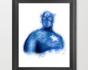 Captain America INSTANT DOWNLOAD, Marvel comics, American hero, movie art, comic book fan, comic art, superhero dad, fathers day gift