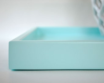 Aqua Shallow Decorative Tray, 14 x 18 Lacquered Wood Serving Tray, Coffee Table Tray