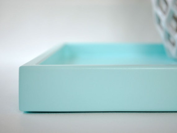 Aqua shallow decorative tray 14 x 18 lacquered wood serving for Shallow coffee table