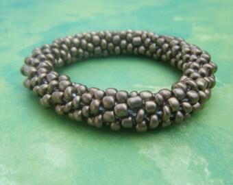 Antique Gold Bead Crochet Bracelet