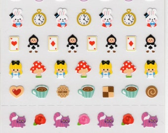 Kawaii tiny Alice in Wonderland Japanese sticker sheet/one point 750024