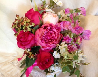 Artificial Faux Peony Roses Country Summer Bouquet