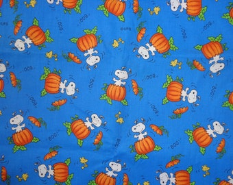 Blue Snoopy Fall Pumpkin Cotton Fabric by the Half Yard