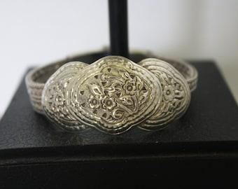 Vintage Sterling Silver Thai Thailand Boho Floral Bracelet