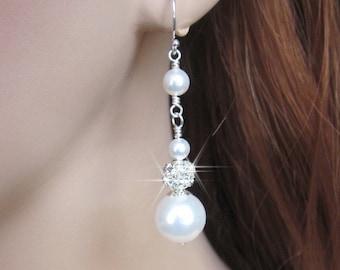 Bridal Pearl Rhinestone Ball Wedding Earrings White or Ivory Pearl Wedding Jewelry, Sterling Silver, For the Bride, Bridal Pearl Earrings